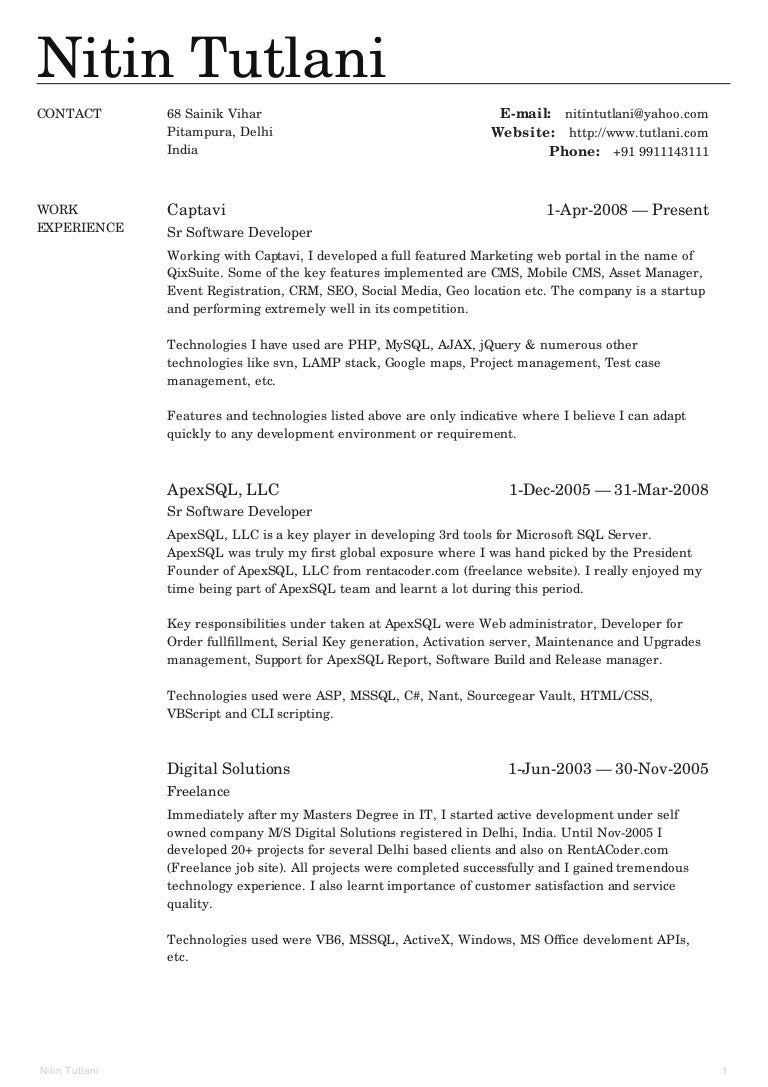 nitin tutlani resume