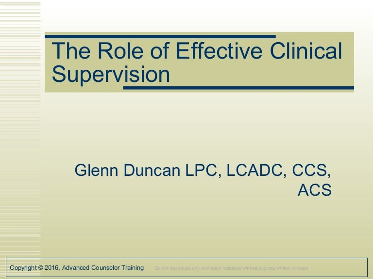 lpc role of clinical supervsion