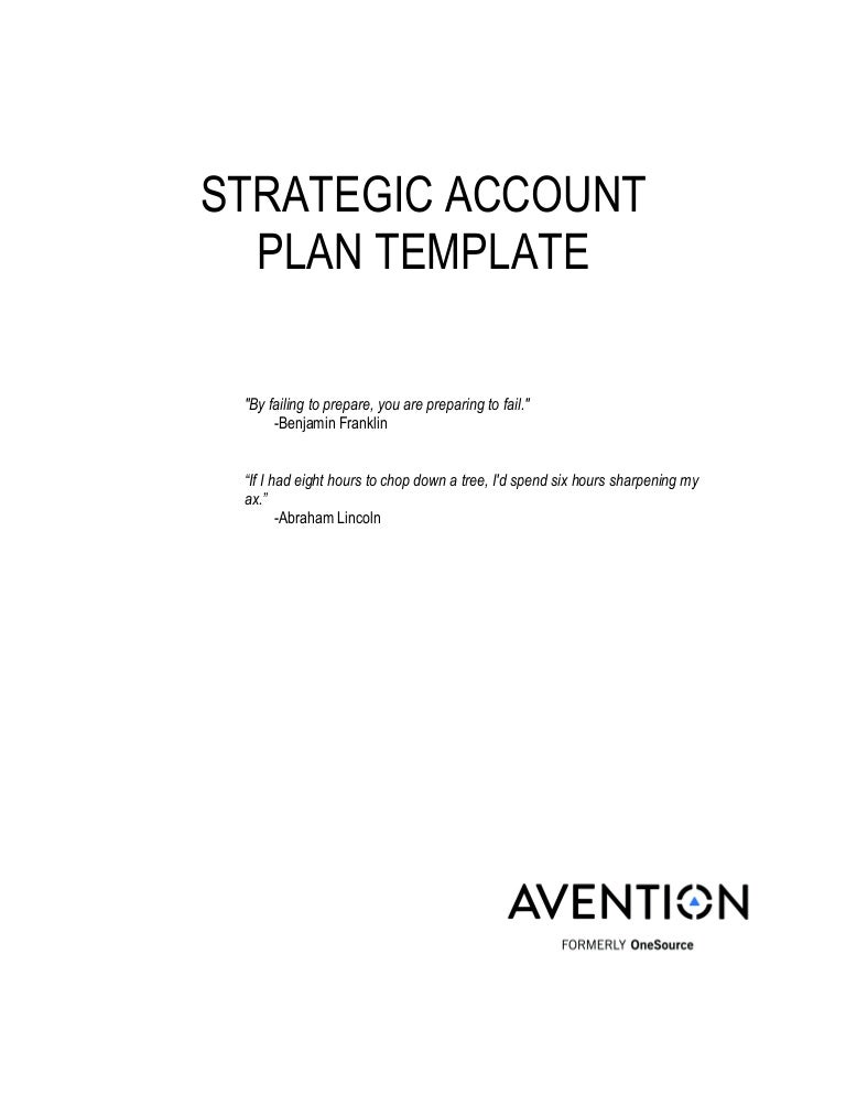 Strategic Account Plan Template – Account Plan Template