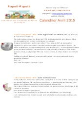 Newsletter Papoti Papota Avril 2015