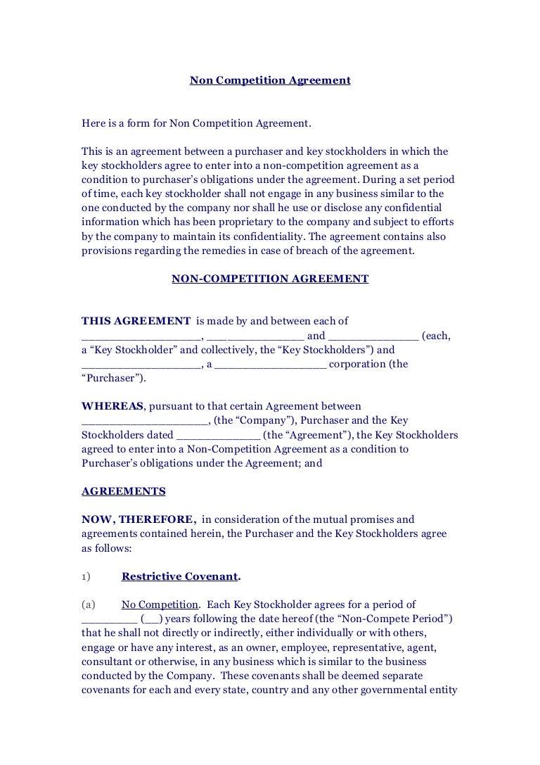 ... Non Competition Agreement U2013 Sample Non Compete Agreements 39 Readytouse NonCompete  Agreement Templates ...