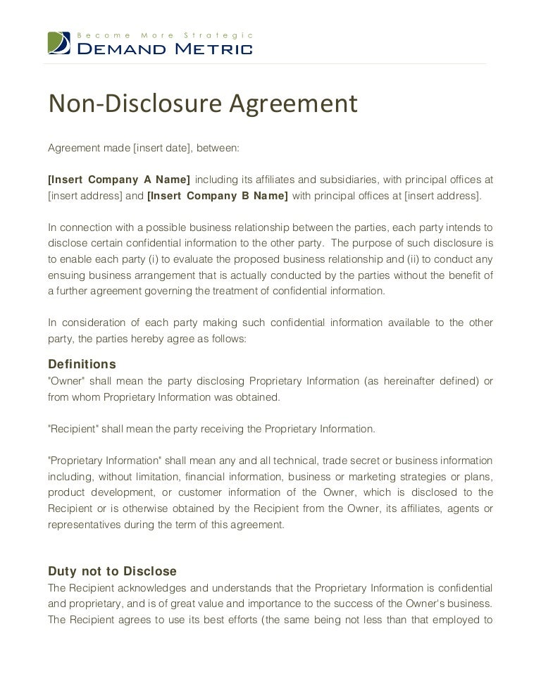 Non disclosure agreement template for Nda template word document