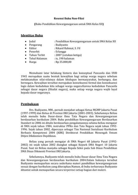 Bahasa Indonesia Resensi Buku Non Fiksi