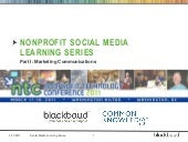 Nonprofit Social Media Learning Series - Marketing Communication