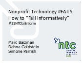 "Nonprofit Technology #FAILS: How to ""Fail Informatively"" (11NTCfailinform)"