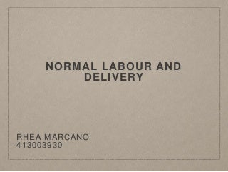 Normal labour and delivery ppt