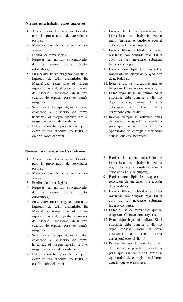 NORMAS PARA TRABAJAR EN LOS CUADERNOS DE CS. SOCIALES Y MATEMÁTICA 6T…