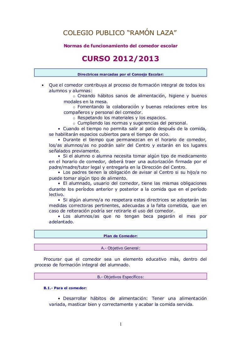 Normas de funcionamiento del comedor escolar 12 13