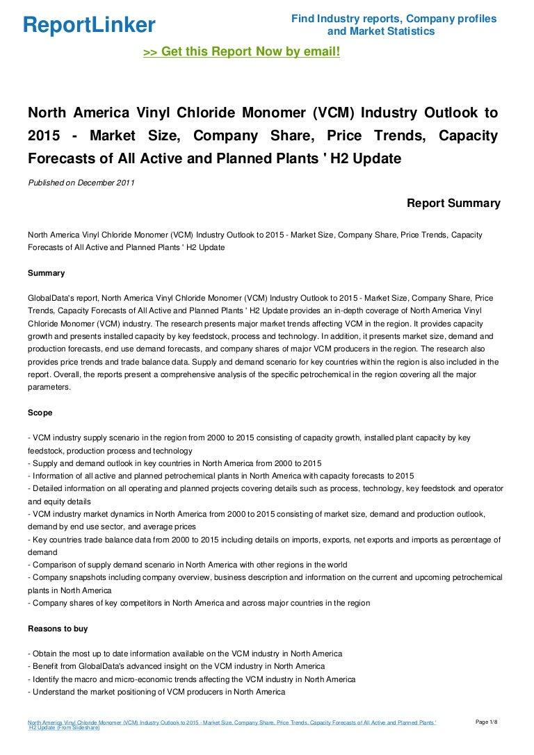 North America Vinyl Chloride Monomer Vcm Industry
