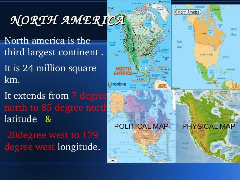 North America - North america map with physical features