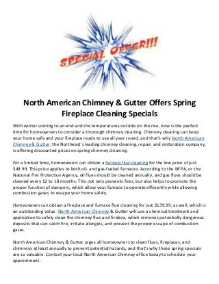 North American Chimney & Gutter Offers Spring Fireplace Cleaning Specials