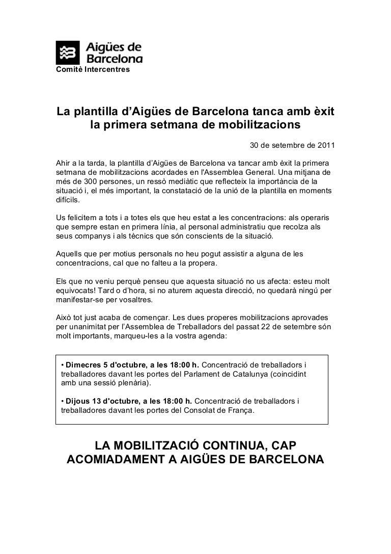 Nota Comité Intercentros Aigües de Barcelona