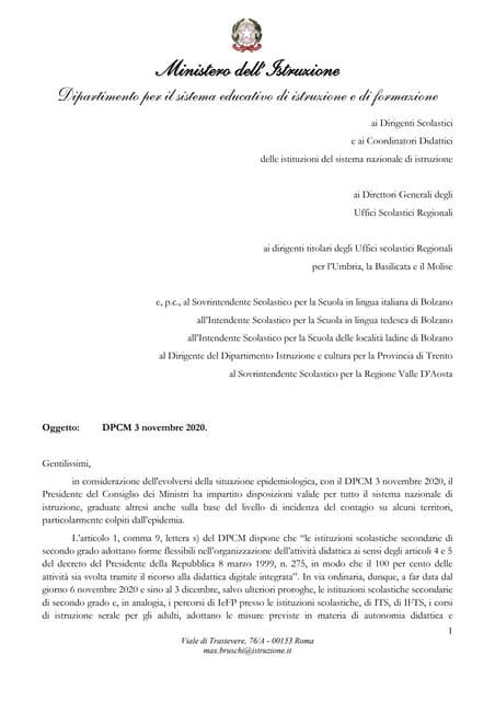 Nota n. 1990 del 5 novembre 2020 - DPCM 3 novembre 2020