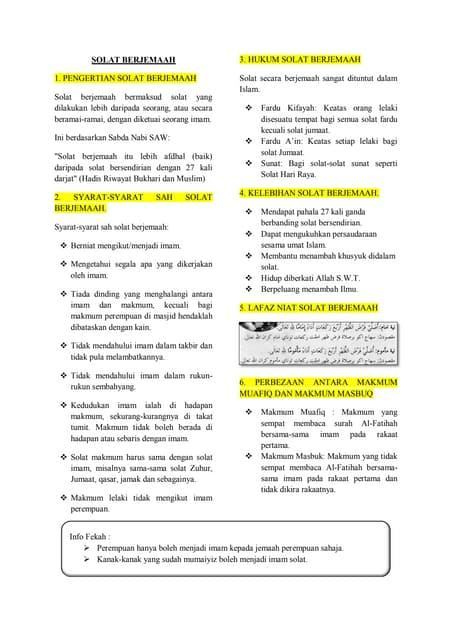 Nota Pendidikan Islam T5 Solat Berjemaah