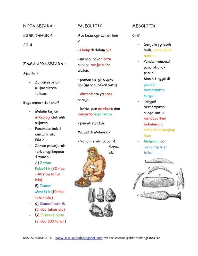 Nota Sejarah Kssr Tahun 4 Prasejarah
