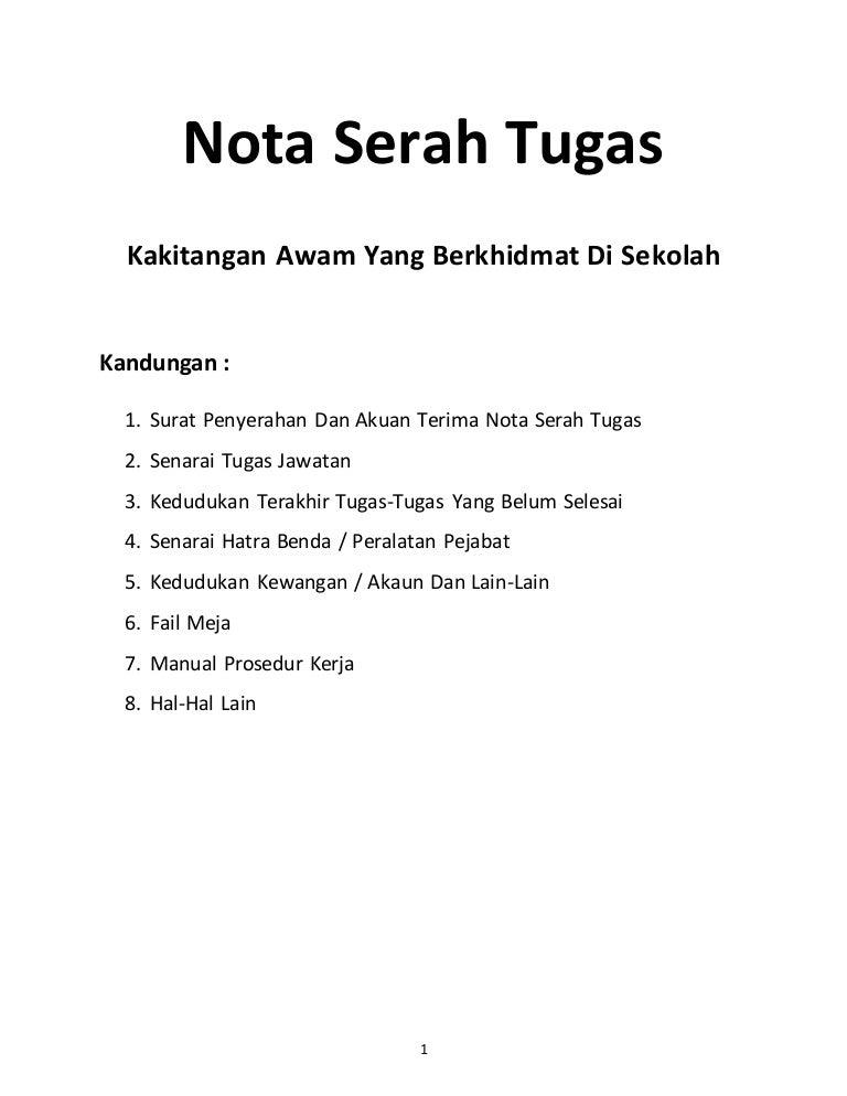 Nota Serah Tugas Norizan