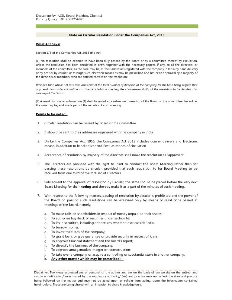 Note and format on circular resolution under the companies act 2013 spiritdancerdesigns Gallery