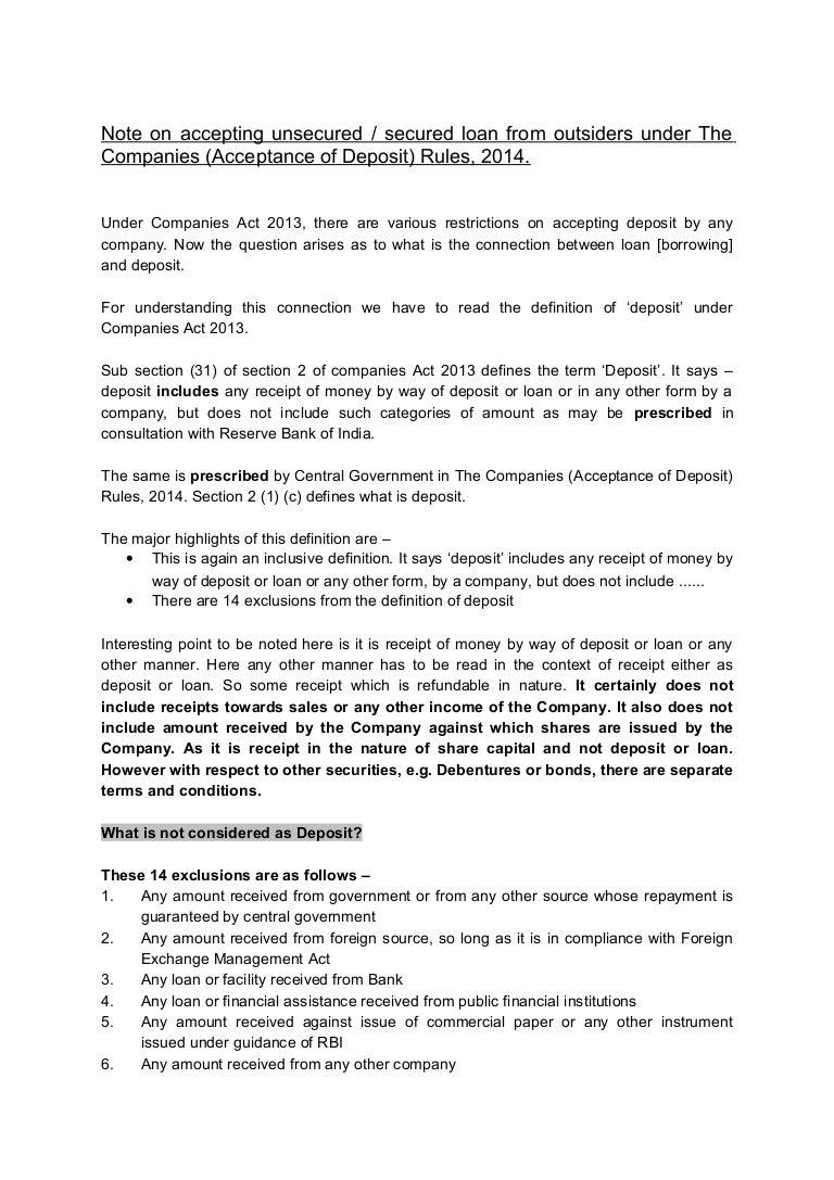 note on accepting borrowing under deposit rule