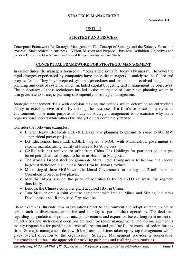 notes for mba strategic management unit i