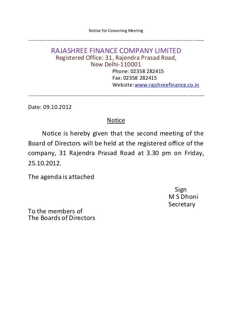 notice  agenda  u0026 minutes of meeting