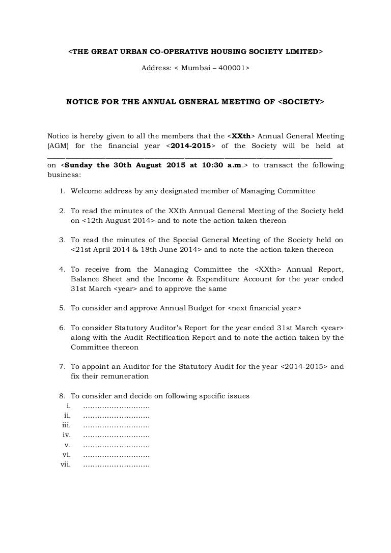 Free Resume Format » notice of meeting template | Resume Format