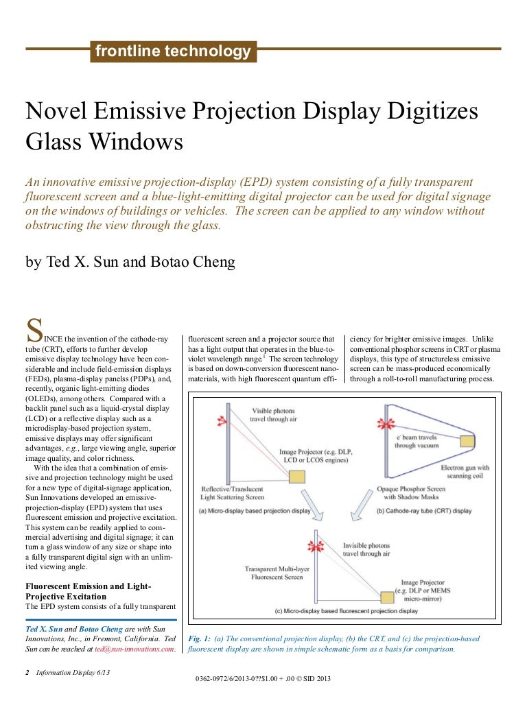 Novel Emissive Projection Display Digitizes Glass Windows Informatio Crt Screen Schematic