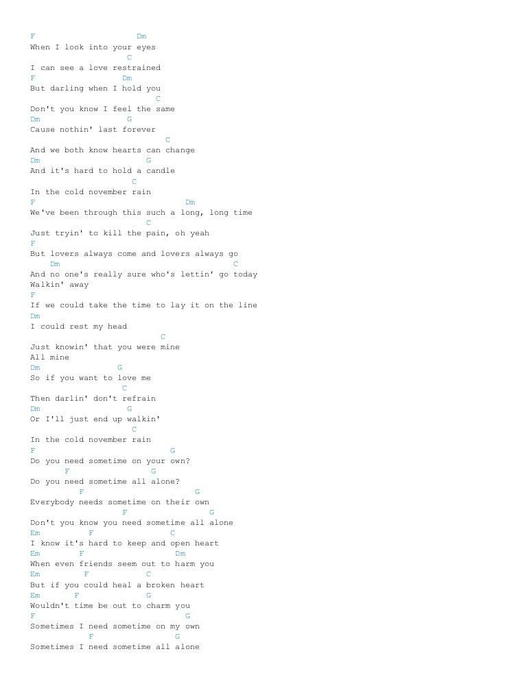 November rain chords (ver 3) by guns n roses @ ultimate guitar
