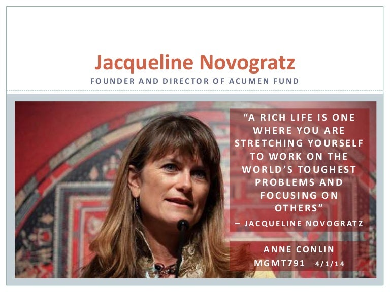 Jacqueline Novogratz by Anne Decourcy Conlin