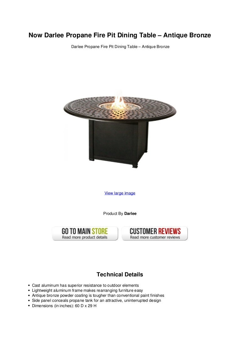 Picture of: Now Darlee Propane Fire Pit Dining Table Antique Bronze