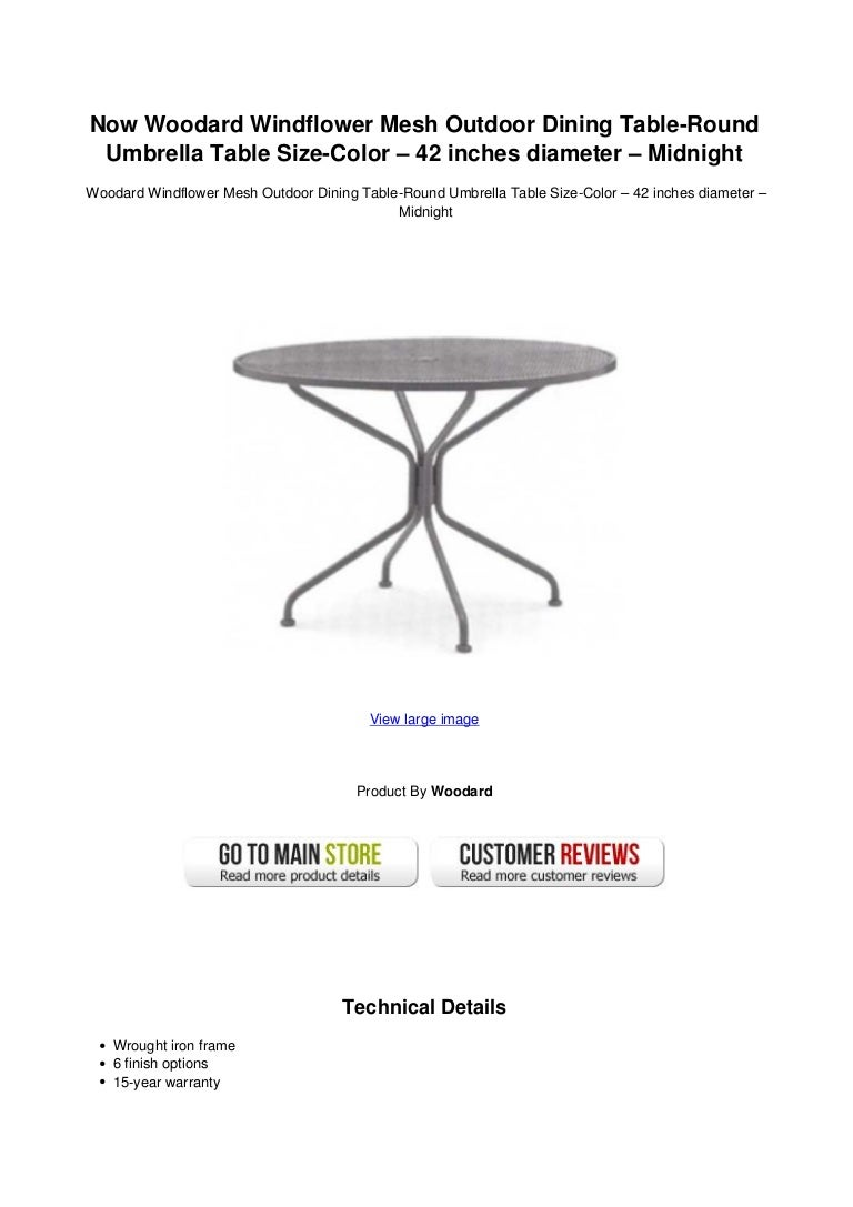 Now Woodard Windflower Mesh Outdoor Dining Table Round Umbrella Table