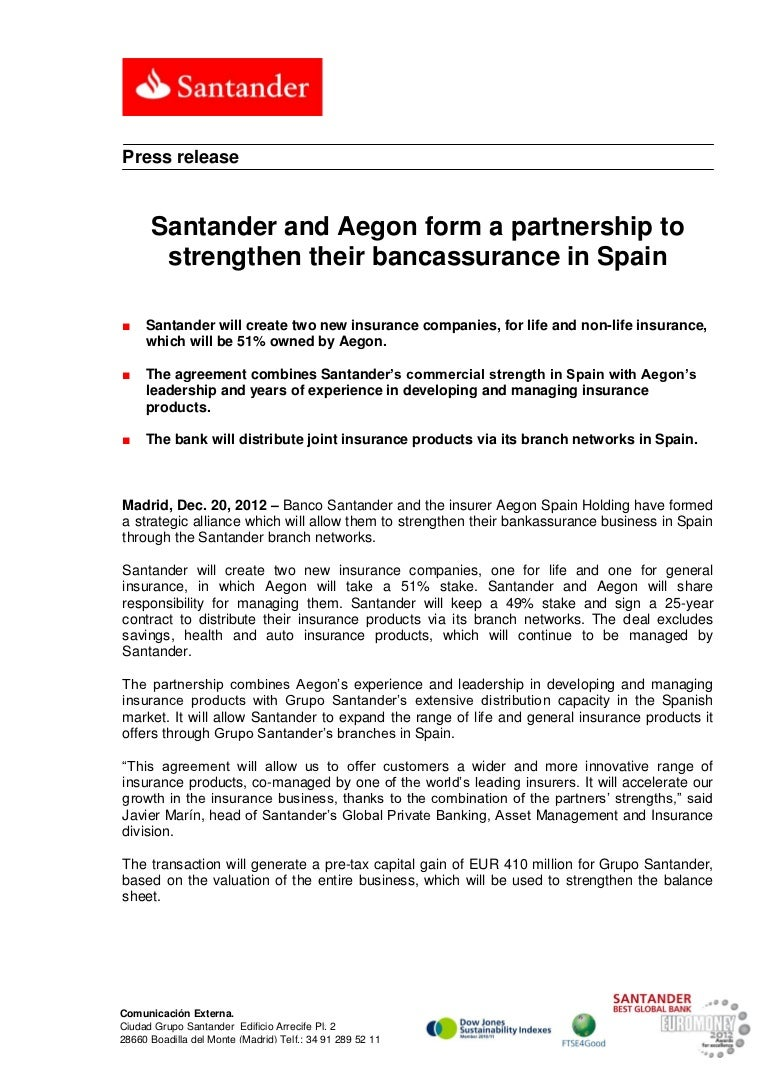 Santander And Aegon Form A Partnership To Strengthen Their Bancassura