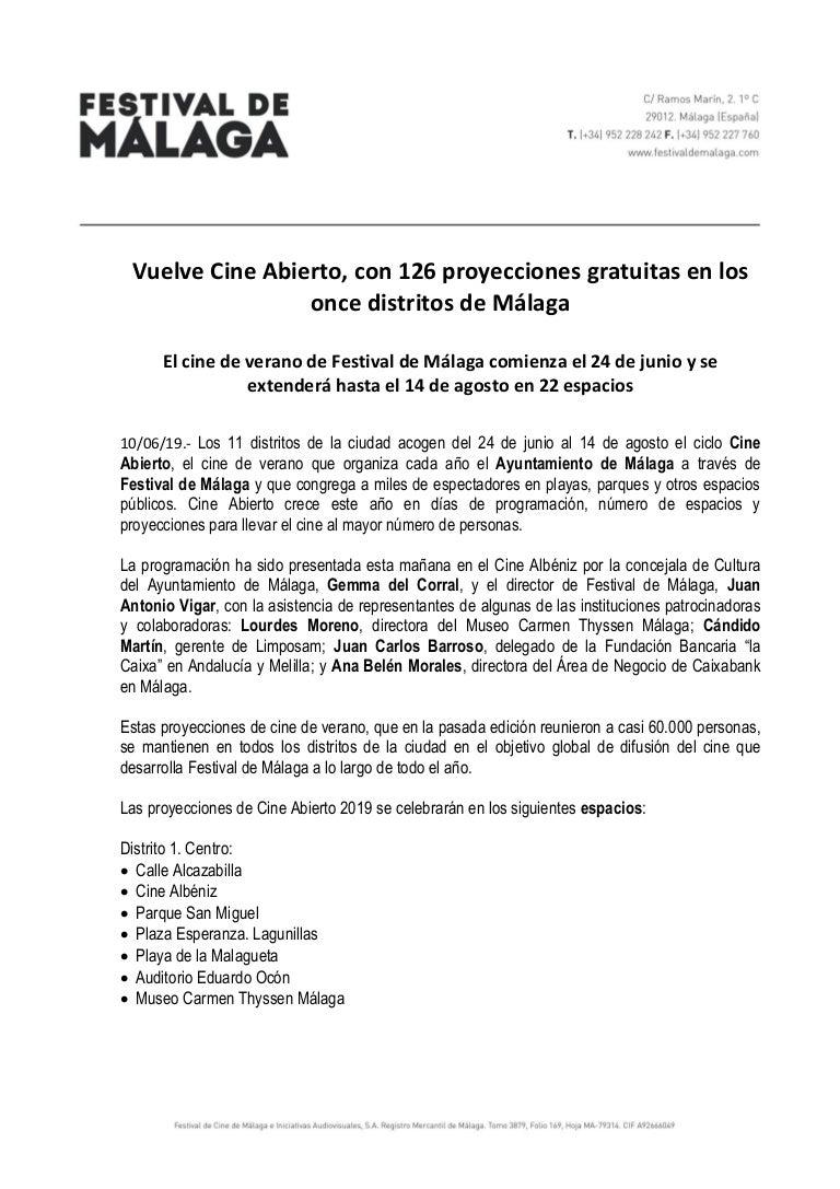 Vuelve Cine Abierto Con 126 Proyecciones Gratuitas En Los Once Distr