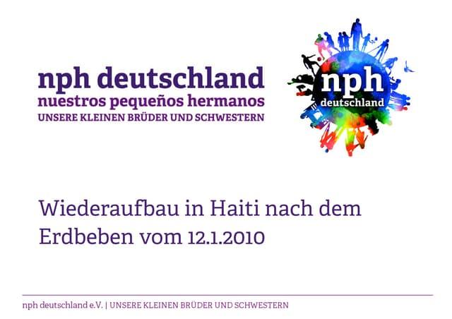 nph deutschland Wiederaufbau in Haiti