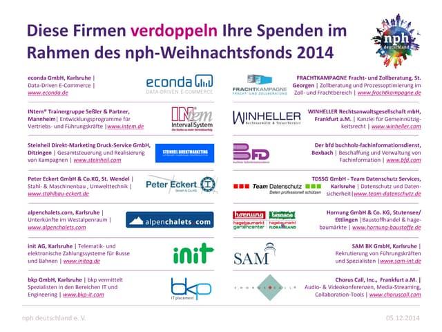 nph weihnachtsfonds 2014 - verdoppelnde Unternehmen
