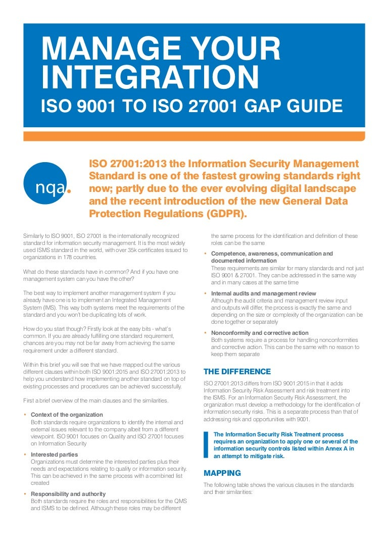 NQA ISO 9001 to ISO 27001 Gap Guide