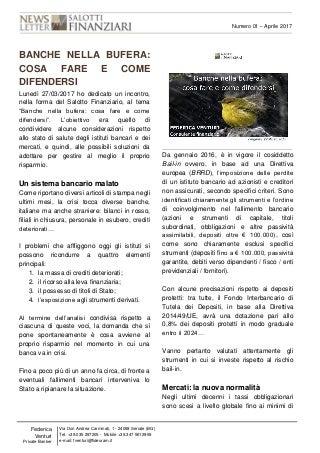 Nr. 01 - Newsletter. Banche nella bufera cosa fare e come difendersi