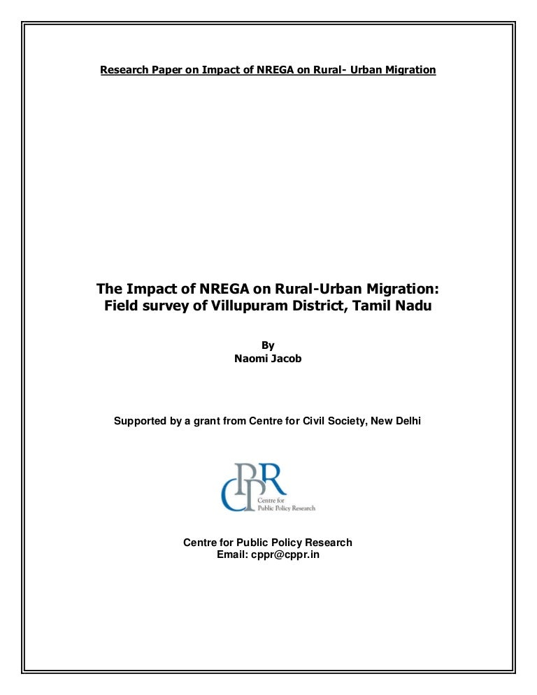 The Impact of NREGA on Rural-Urban Migration: Field survey of Villupu…