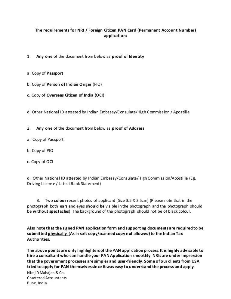 pan card application form for nri pdf