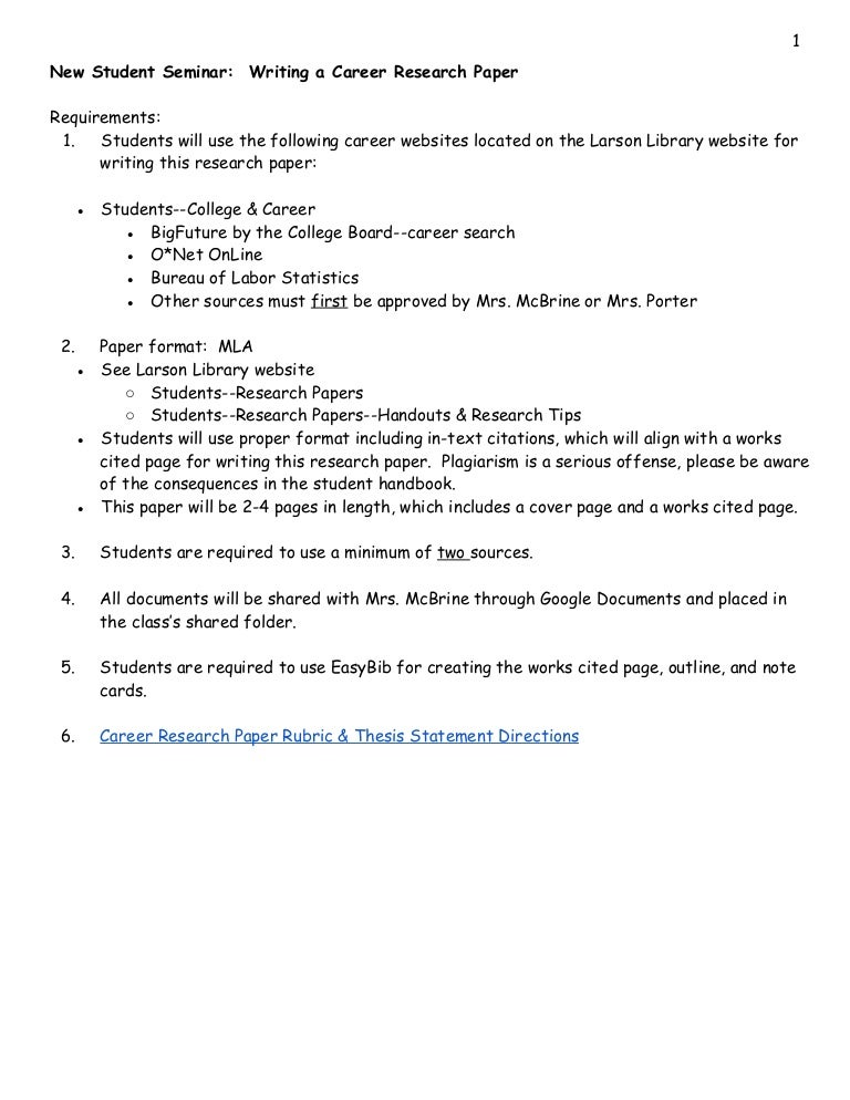 Nss career research paper instructions
