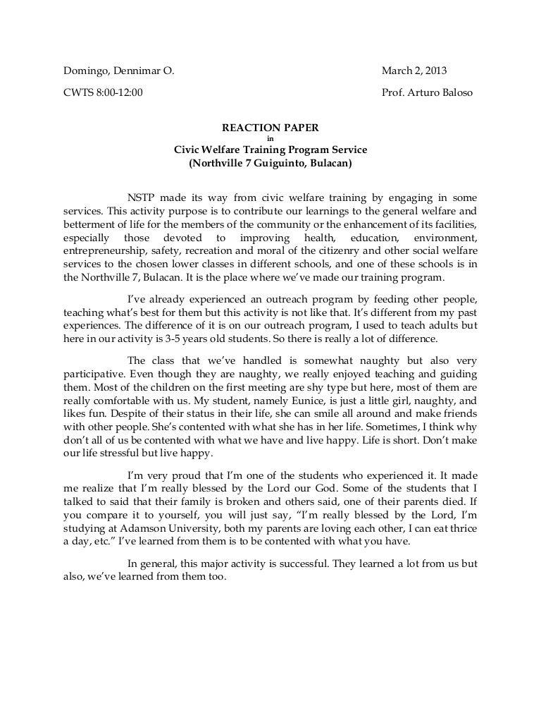 nstp reflection paper conclusion