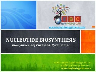 Nucleotide Synthesis (De-novo and Salvage Pathways of Purine & Pyrimidine Biosynthesis PPT by easybiologyclass)