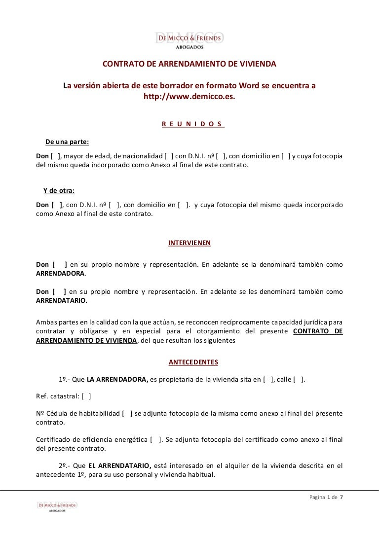 De micco friends modelo contrato de arrendamiento de for Contrato documento