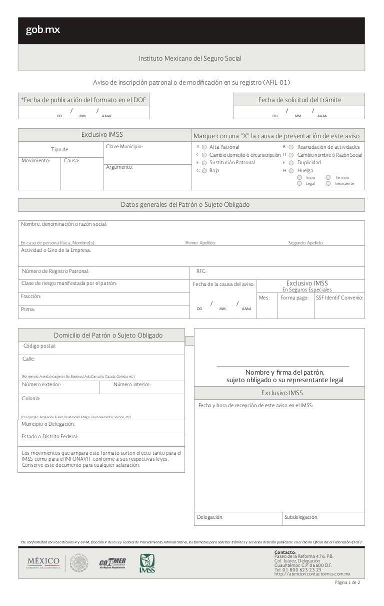 Proyecto de Nuevos Formatos de Afiliación al IMSS