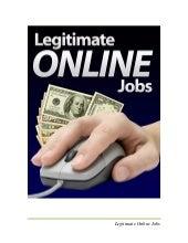 LEGITIMATE ONLINE JOBS - A FREE E-BOOK