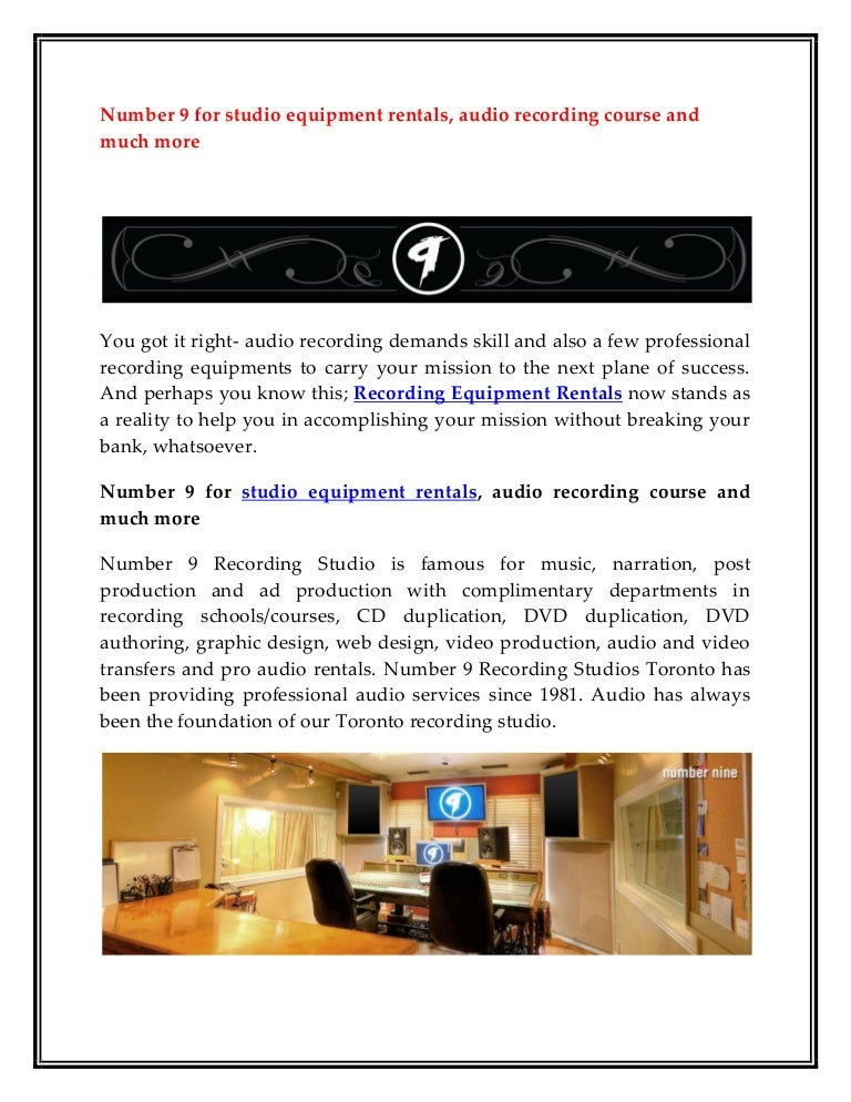 Number 9 For Studio Equipment Rentala Recording Course And Much More