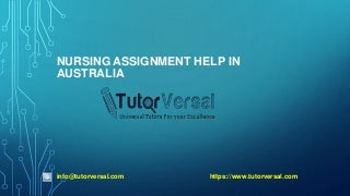 Nursing Assignment Help in Australia - TutorVersal