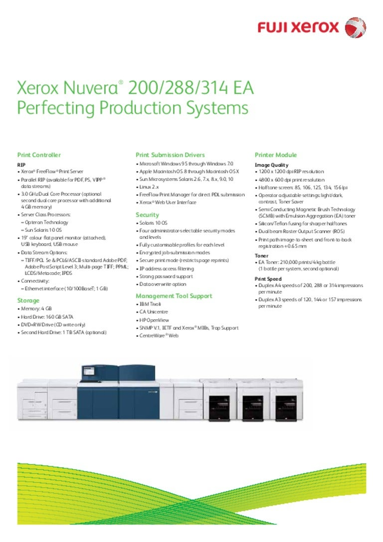 Xerox Nuvera® 200/288/314 EA Perfecting Production Systems