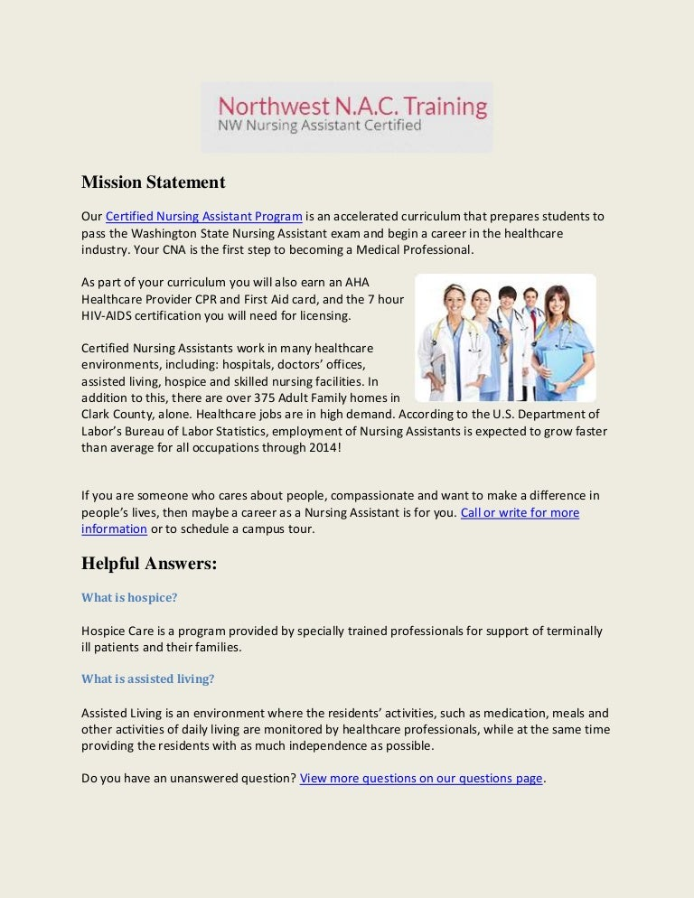 Cna Training School Of Nursing