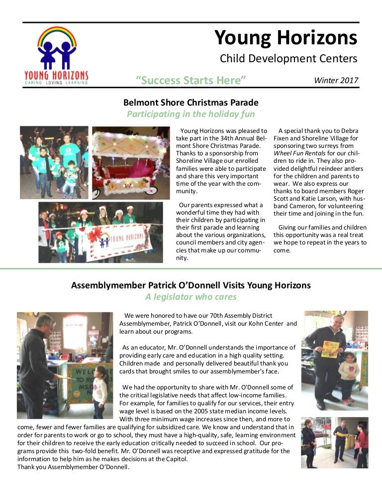 Young Horizons: Winter 2017 Newsletter