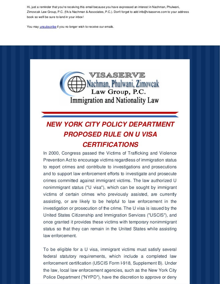 NEW YORK CITY POLICY DEPARTMENT PROPOSED RULE ON U VISA CERTIFICATIONS